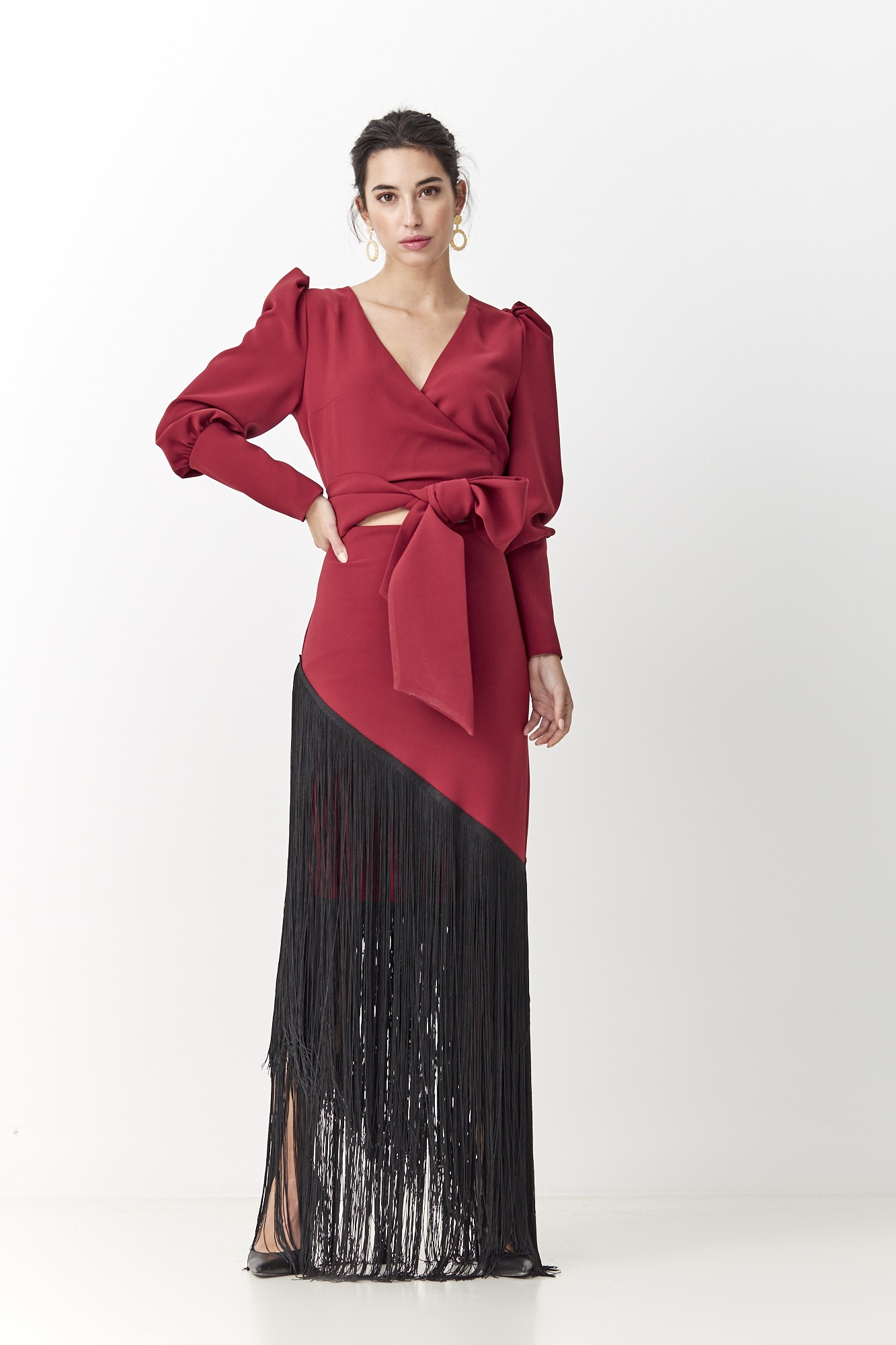 RONDEÑO BURGUNDY DRESS